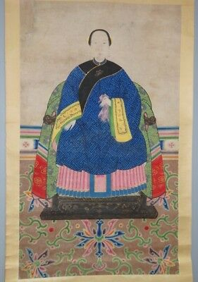 """Ancestor portraits of a lady with """"Certificate of Antiquity"""" Hong Kong Art Craft"""