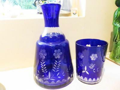 Bohemian Blue Czech Glass Crystal Etched Blue Water Decanter & Matching Glass
