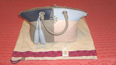 0e869c3ad635 Tory Burch Medium Thea Patchwork Leather Satchel French Gray Multi Nwt   525.00