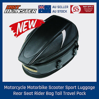 Motorcycle Touring Rear Pillion Seat Tail Bag Luggage Expandable Waterproof