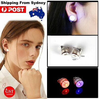 60x LED Earrings Clip On Kids Fashion Party Light Up Flashing Glow in the dark D
