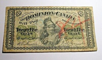 1870 Dominion Of Canada 25 Cents Bank Note
