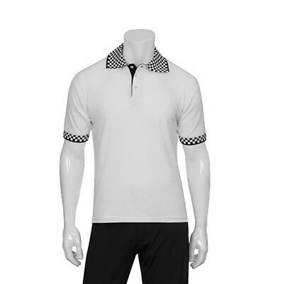 Polo Shirt White & Check Hospitality Delivery Cook Chef Uniform Chefworks Medium