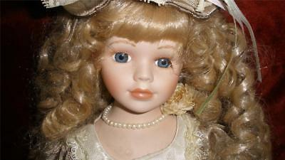 Collectable Bisque Porcelain Doll Beautifully Dressed + Stand Cream