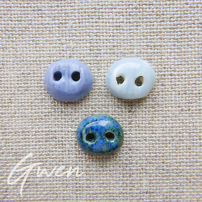 Vintage Tiny French Ceramic Button hand made Artisan Pierre Casenove Blue