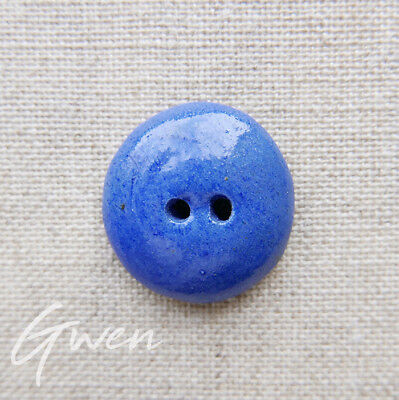 Vintage French Ceramic Button hand made Artisan Pierre Casenove Blue