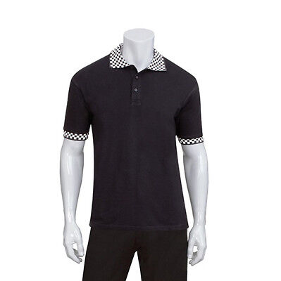 Polo Shirt Black & Check Hospitality Delivery Cook Chef Uniform Chefworks Large