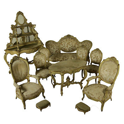 Revival Living Room Lacquered Gilded Wood Italy End 1800
