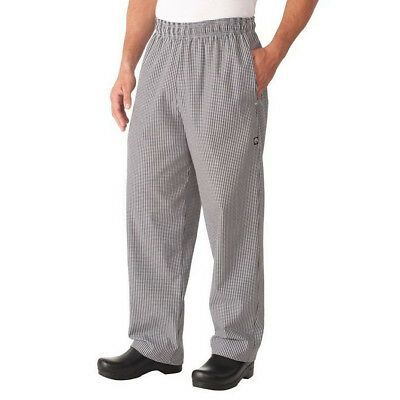 Chef Baggy Pants B&W Checked Hospitality Uniform Chefs Cook Chefworks Large