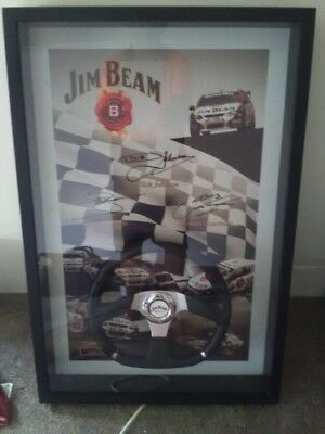 Jim beam racing steering wheel framed. Autographed by Dick Johnson, Steve Johnso