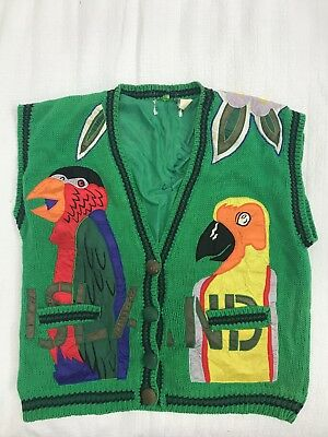 Vintage Mens Vest Retro One Size Tropical Knitted Vest