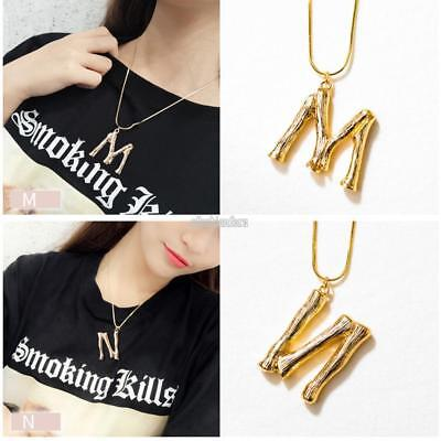 WOMEN ROSE GOLD Plated Alphabet Initial Letter Chain Pendant