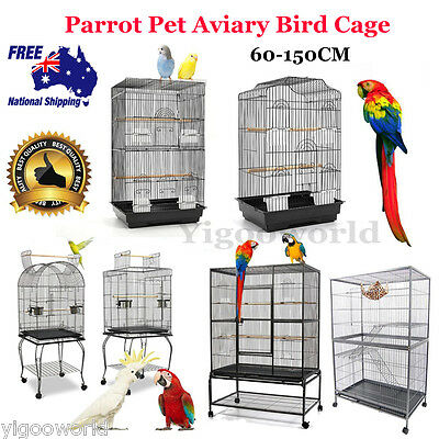 Bird Cage Parrot Canary Aviary Pets Stand Alone Budgie Perch Castor Wheels Large