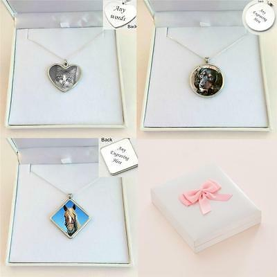 Pet Loss Necklace with Photo and Personalised Engraving, Loss of Cat, Dog etc