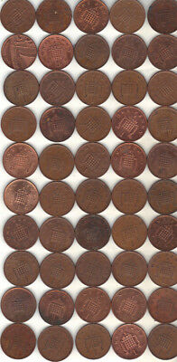 United Kingdom Lot Of 50 One Pence Decimal Coins