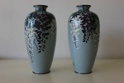 Wonderful Pair Antique Japanese Silver Wire Cloisonne Vases - Wisteria