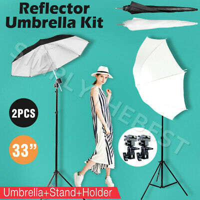 Photo Studio Flash Umbrella Speedlite Light Stand + 2 Bracket Umbrella Holder AU