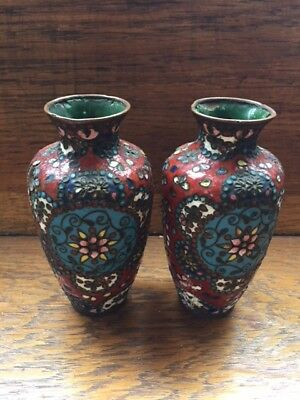 Matching pair of antique cloisonne on copper enamel vases 13cm tall