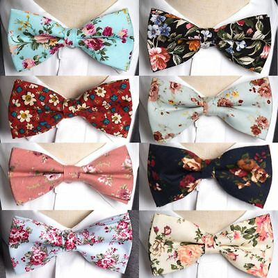 Mens bow tie cotton printing bowtie  Rose floral wedding Parties necktie
