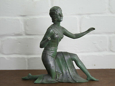 Large Antique Cast Metal Spelter Female Figure Statue -  Art Deco Dancer
