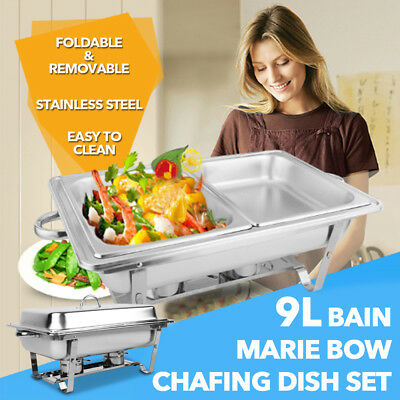9L Bain Marie Bow Chafing Dish Set 4.5Lx2 Stainless Steel Food Warmer Buffet Pan