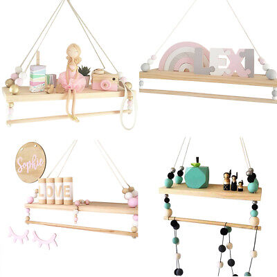 CO_ Kids Wooden Beads Double Wall Shelf Nursery wall hanging shelf Nordic style