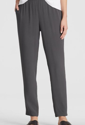 $298 BNWT Eileen Fisher The ICONS Silk Crepe BLACK Wide Leg Ankle Pants 1X 3X