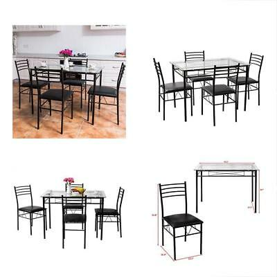 5 PCS Dining Set W/Glass Top Table And 4 Chairs Home Dinette Kitchen Furniture