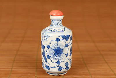 Chinese Porcelain Hand Painting Blue And White Flower Snuff Bottle