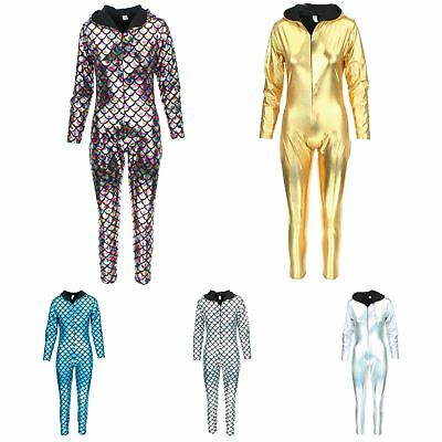 Hooded Catsuit Bodysuit Jumpsuit Romper Trousers GOLD SILVER Mermaid Scales
