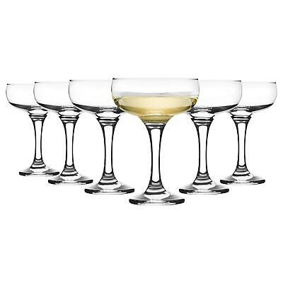 Glass Champagne Glasses Saucers 200ml 1920s Retro Gatsby Art Deco Coupe x6
