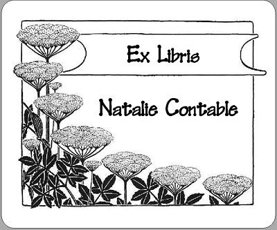 Personalized  Ex Libris Bookplates Featuring a Simple Floral Image
