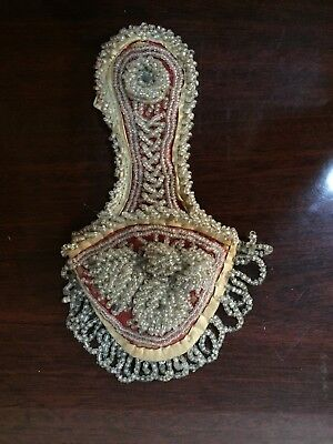 Antique Vintage Indian Iroquois Whimsey Beaded Wall Pocket Holder