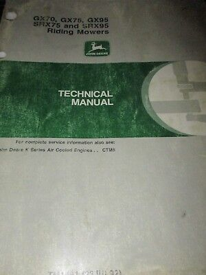 John Deere GX70, GX75, GX95, SRX75, SRX95 Riding Mowers Technical Manual 1992