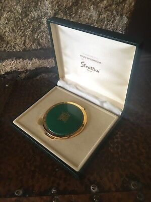 Boxed Stratton House of Commons Pocket Double Mirror (like Compact) Green & Gold