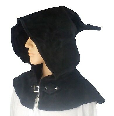 LARP Black Leather Hood,Cosplay,Reenactment,Medieval OLD STOCK REDUCED