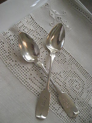 ~ANTIQUE Pair of Joseph Seymour Coin Silver Fruit Spoons Fiddle Pattern~34g~