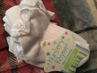 Two Pair Nursery Rhyme Lace/Islet Edge Socks 6-12 Month New
