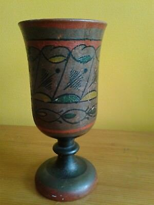 Beautiful Antique Made in Russia Decorative Wooden Goblet