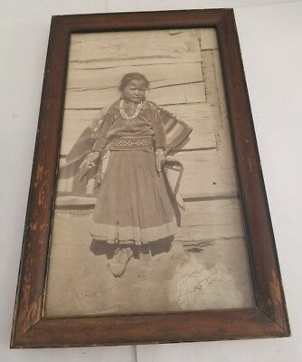 """Vintage/ Antique Native American Indian Girl Photo 8""""×14"""""""