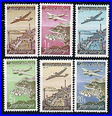 YUGOSLAVIA 1947 PLANE over TOWNS SC#C17-28 MNH (12 STAMPS in 2 LANGUAGES)