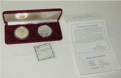 1991 First Man in Space 30th Ann 2 Pc 900 Silver Coin Set Made From Spacecraft