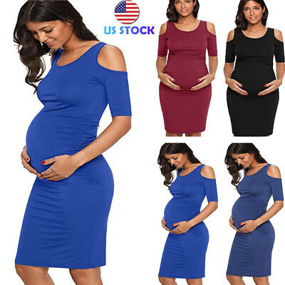 5f671e175b439 Women Maternity Cold Shoulder Fitted Dress Pregnancy Bodycon Round Neck  Sundress
