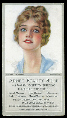 Early Rare Rolf Armstrong Beauty Shop Advertising Ink Blotter Pin-up The Blonde