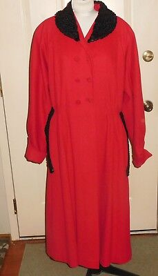 1940's Vintage Red  Donge New York Coat With Persian Lamb Collar