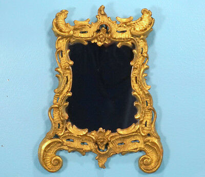 18c German Baroque Wood Carving FRAME w/ Mirror SIZE Gilded Shell Decor