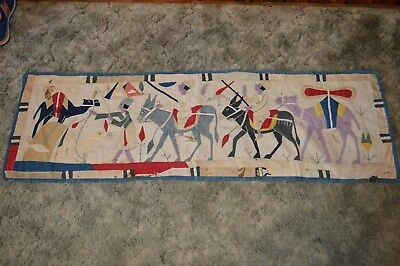 1920 Antique Appliqued Quilt Wall Hanging, Eqyptian Revival Decore