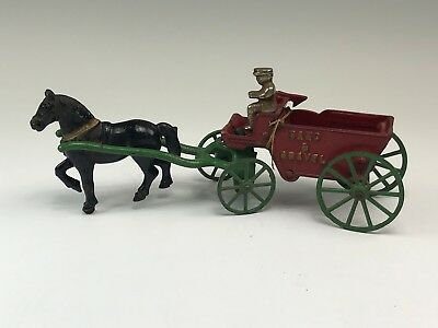 Antique Painted Cast Iron Toy Horse & Sand & Gravel Wagon