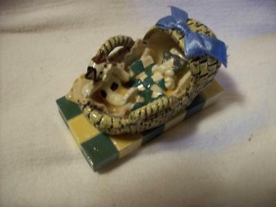 Baby Cats Kittens in Basket by Donna Little Enesco 1997