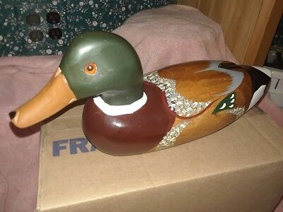 "Vintage Hand Carved Hand Painted Wooden Mallard Decoy /duck 14"" Long Glass Eyes"